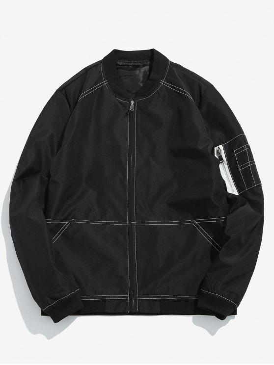 sale Seam Design Pocket Bomber Jacket - BLACK XL