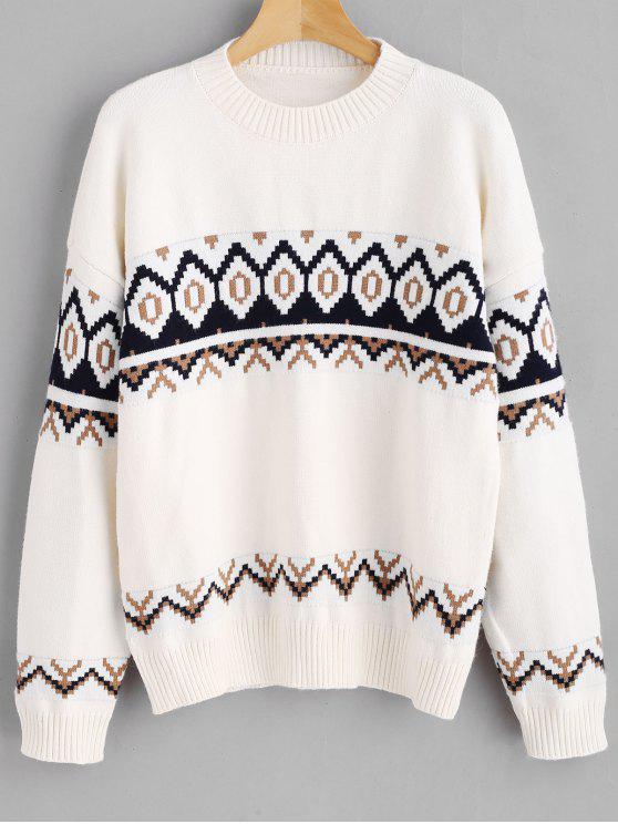 latest Drop Shoulder Geometric Jumper Sweater - WHITE ONE SIZE