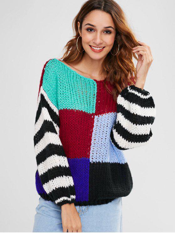 sale Loose Knit Color Block Sweater - MULTI ONE SIZE