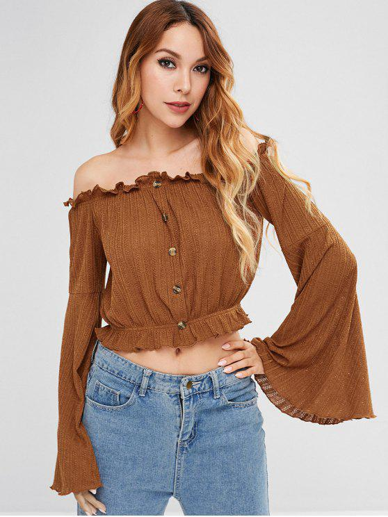 new ZAFUL Frills Trim Flare Sleeve Blouse - BROWN L