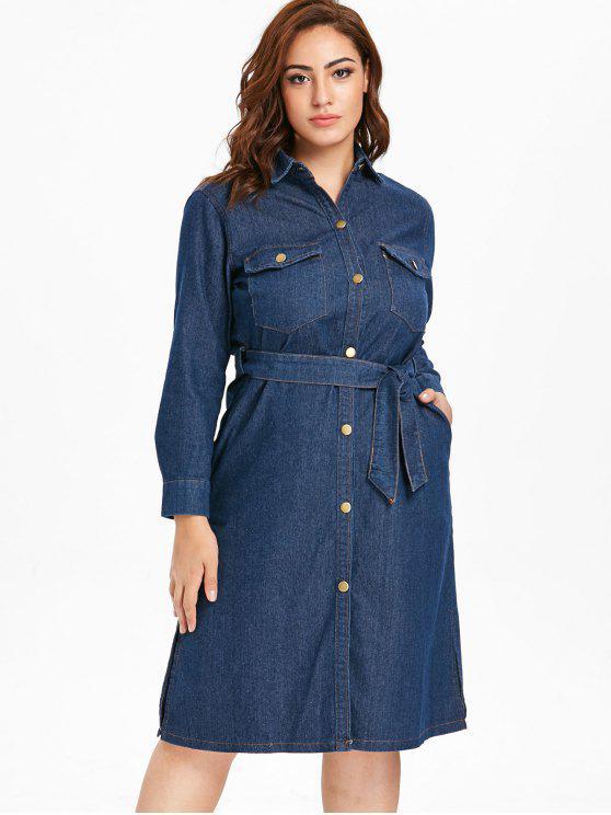 Plus Size Button Up Denim Shirt Dress DENIM DARK BLUE