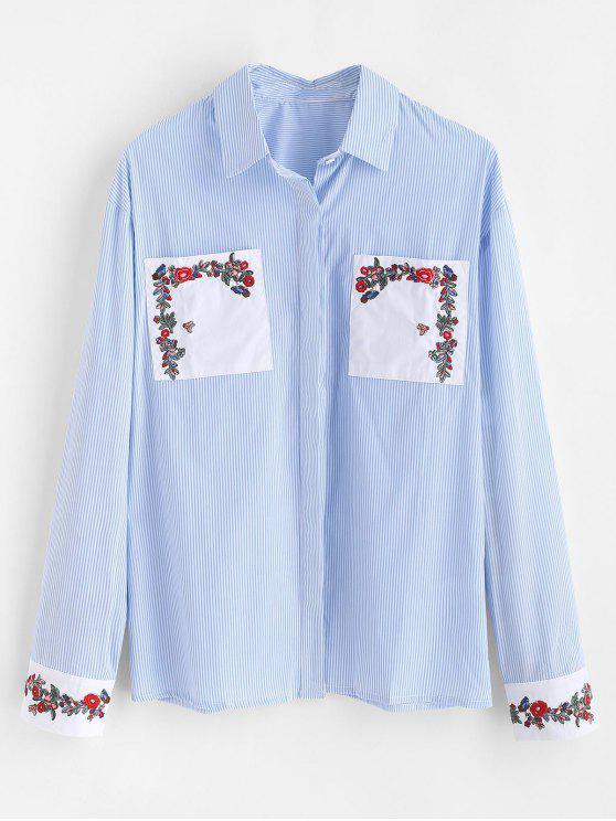 fancy Floral Embroidered Striped Patch Pocket Shirt - LIGHT BLUE M