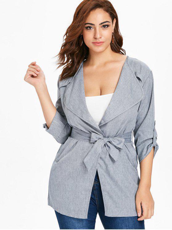 women Plus Size Belted Duster Coat - GRAY 1X