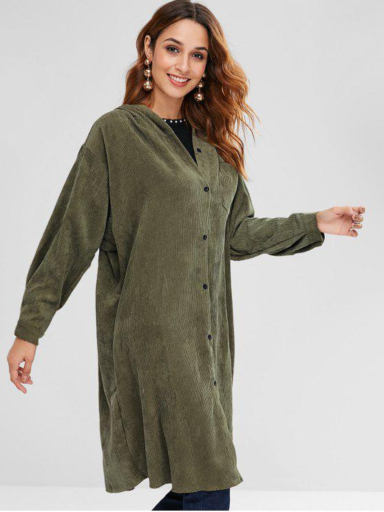 lady Hooded Pocket Longline Coat - CAMOUFLAGE GREEN XL