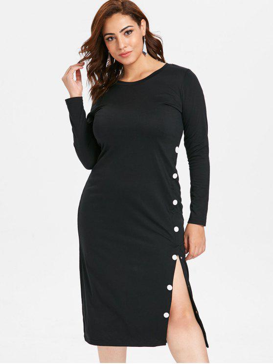 ZAFUL Плюс размер С разрезом Платье С длинным рукавом - Чёрный 4X