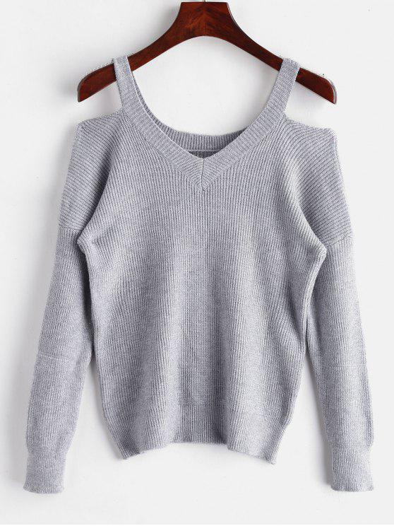 outfits Cut Out Drop Shoulder Sweater - GRAY CLOUD ONE SIZE