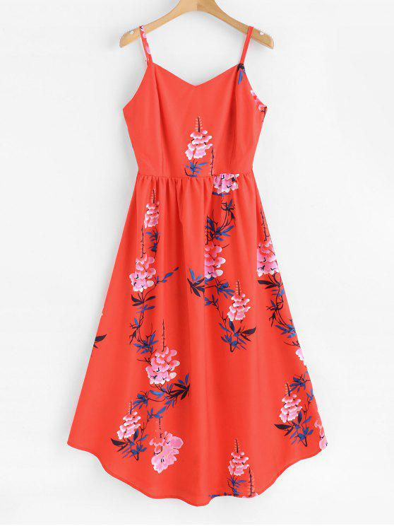 outfit ZAFUL Floral Print Midi Cami Dress - RED L