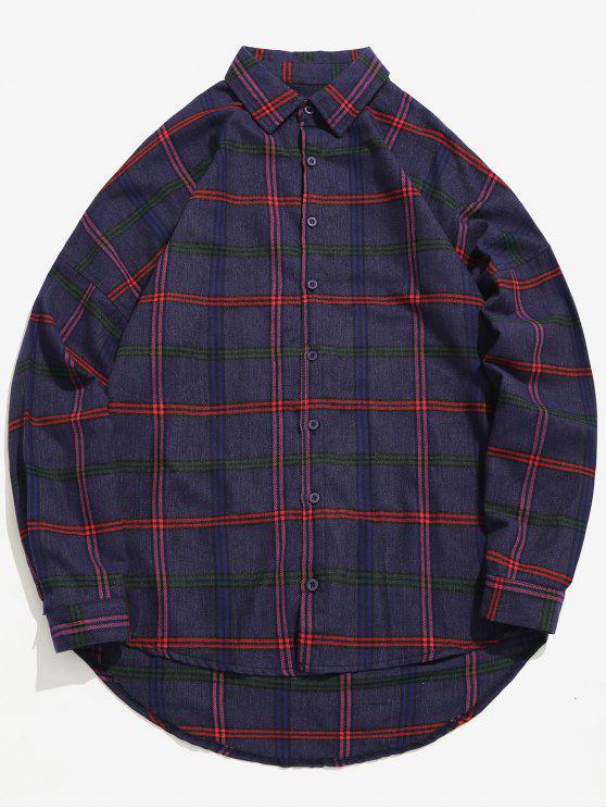 Camisa solta de impressão xadrez casual - Roxa L