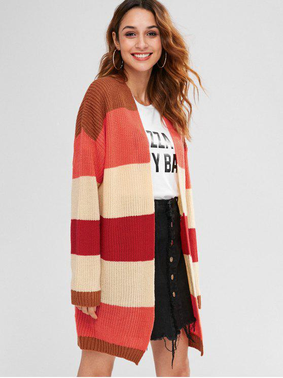 unique Rainbow Color Block Long Cardigan - MULTI-A S