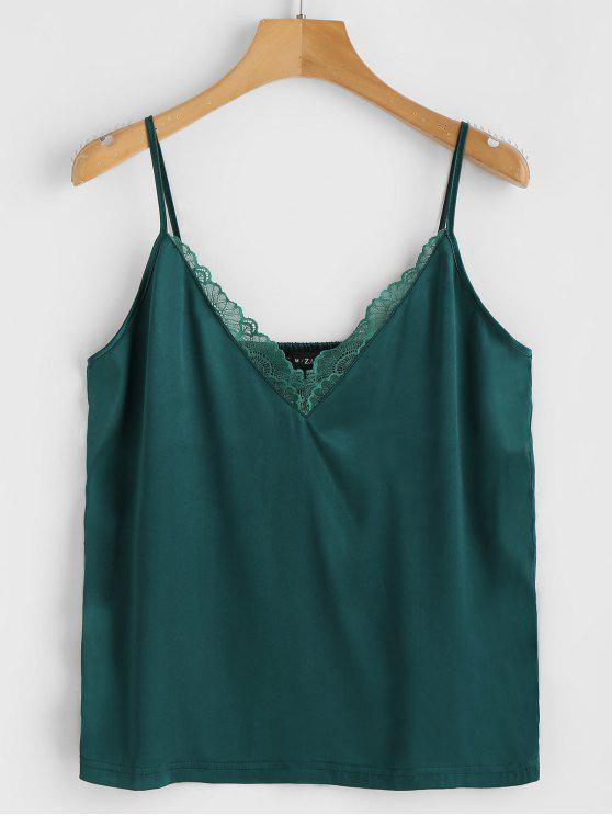 affordable ZAFUL Satin Lace Panel Cami Top - DEEP GREEN L