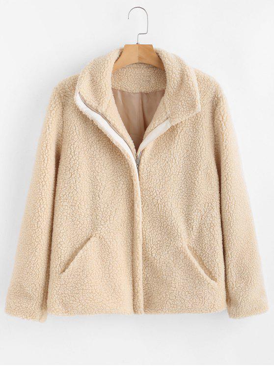 trendy ZAFUL Zip Up Faux Fur Coat - WARM WHITE S