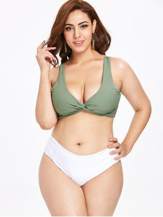 affordable ZAFUL Twisted Plus Size Color Block Bikini Set - SEA GREEN 3X