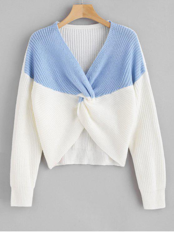 unique ZAFUL Two Tone Twist Chunky Sweater - SKY BLUE ONE SIZE