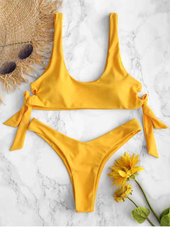 Bikini Anudado de Pierna Alta ZAFUL - Caucho Ducky Amarillo L
