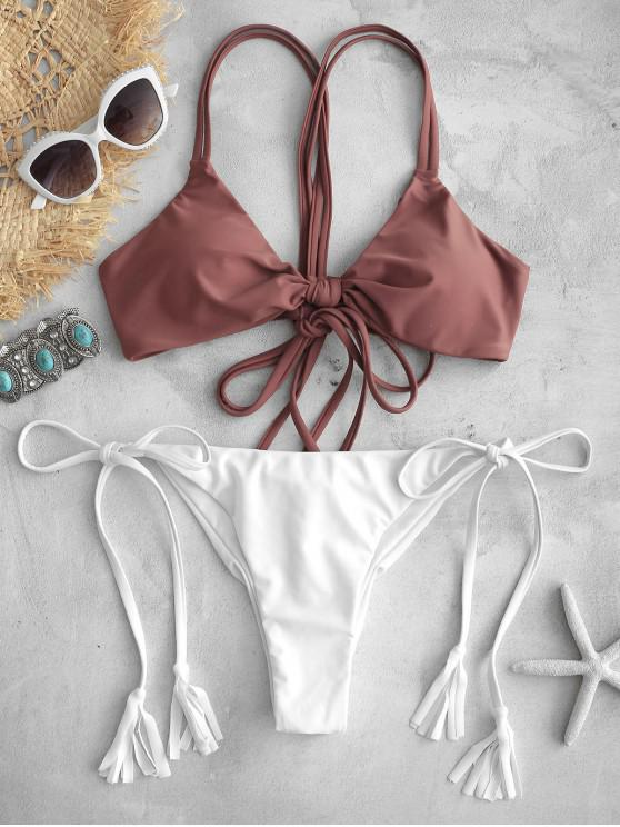 fancy ZAFUL Crisscross Tie Scrunch Butt Bikini Set - CHESTNUT M