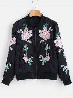Flower Embroidered Zipper Jacket - Black L