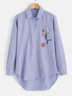 Camisa De Rayas De Sirena Alta Baja A Rayas - Azul Océano  M