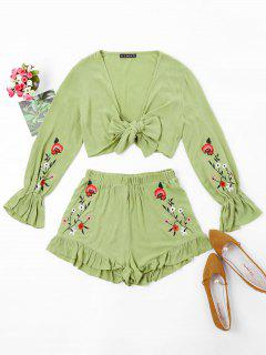 ZAFUL Floral Embroidered Top And Shorts Set - Avocado Green M
