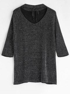 Lace Up Glittering Choker T-Shirt - Black L