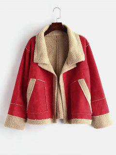 Faux Suede Fluffy Pocket Coat - Red