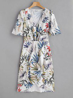 Flower Print Surplice Low Cut Dress - Multi L