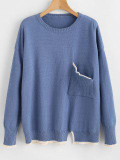 Drop Shoulder Pocket Slit Sweater - Ocean Blue