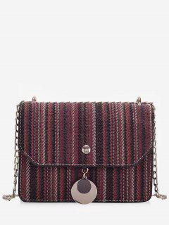 Striped Canvas Chain Crossbody Bag - Red Wine