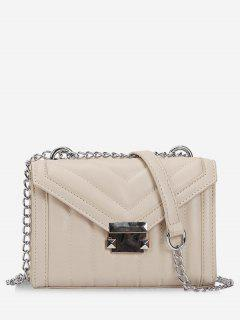 Metal Hasp V Pattern Crossbody Bag - Beige