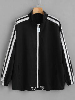 Striped Side Drop Shoulder Zipper Jacket - Black