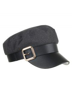 Vintage Square Buckle Flat Top Hat - Gray