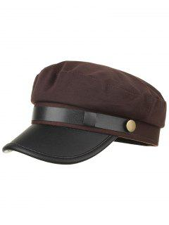 Solid Color PU Leather Army Hat - Coffee
