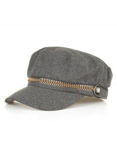 Metal Button Flat Top Hat - Gray