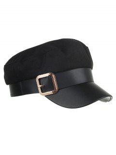 Vintage Square Buckle Flat Top Hat - Black