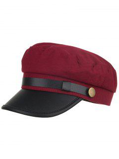 Solid Color PU Leather Army Hat - Red Wine