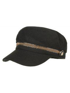 Metal Button Flat Top Hat - Black