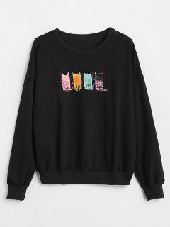 Beading Print Drop Shoulder Sweatshirt - Black