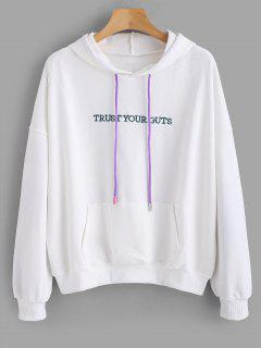 Letter Embroidered Drop Shoulder Drawstring Hoodie - White