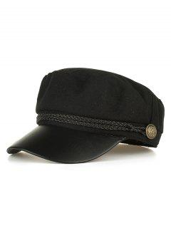 PU Leather Braided Band Military Hat - Black