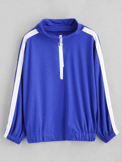Gestreiftes Side Double Zip Sweatshirt - Blau Xl
