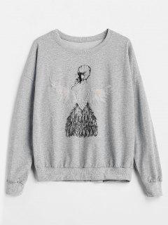 Sweat-shirt Fille Imprimée Avec Fausse Perle - Gris
