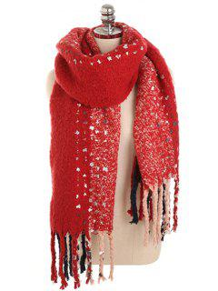 Vintage Long Fringed Winter Shawl Scarf - Red