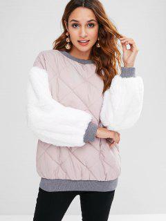 Faux Fur Padded Drop Shoulder Sweatshirt - Sakura Pink