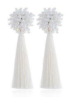 Boucles D'Oreilles Longues Couleur Unie - Blanc