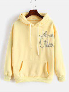 Front Pocket Embroidery Hoodie - Sun Yellow M