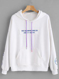 Drop Shoulder Letter Embroidered Hoodie - White