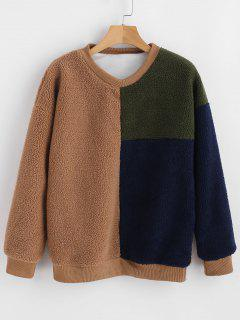 Crewneck Color Block Faux Fur Sweatshirt - Multi