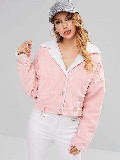Corduroy Pocket Fluffy Coat - Pink M
