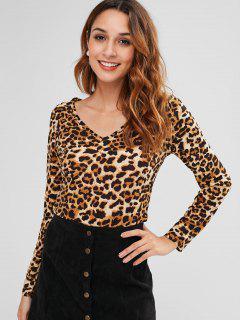 Camiseta Con Cuello En V Leopardo - Leopardo L