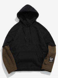 Contrast Fake Two Piece Fleece Hoodie - Coffee Xl
