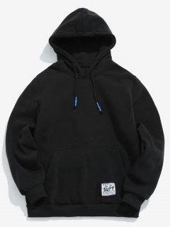 Solide Tasche Pocket Fleece Hoodie - Schwarz L